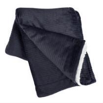 Solid Reversible Rib/Sherpa Throw Blanket
