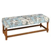 The Grainhouse™ Sky Floral Upholstery Ball Leg Bench