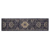 "Mohawk Home 22""x84"" Dark Blue Faded Damask Runner Rug"