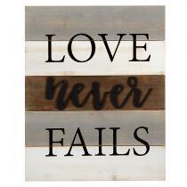 """The Grainhouse™ 16""""x20"""" """"Love Never Fails"""" Cutout Wood Wall Sign"""