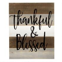 """The Grainhouse™ 16""""x20"""" """"Thankful & Blessed"""" Cutout Wood Wall Sign"""