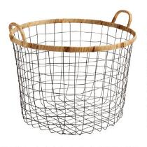 The Grainhouse™ Round Wire Basket with Wrapped Trim