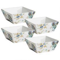 Dalton Blue Floral Porcelain Square Cereal Bowls, Set of 4