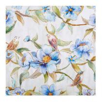 "20"" Blue Flowers Square Canvas Wall Art"