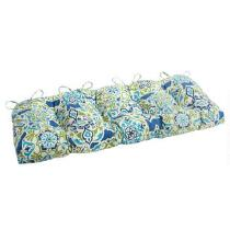 Blue Floral Medallion Indoor/Outdoor Double-U Bench Seat Pad