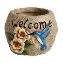 """Welcome"" Hummingbird Planter"