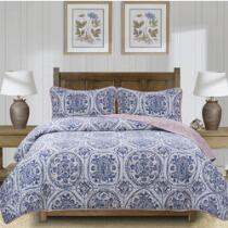 The Grainhouse™ White/Dark Blue Reversible Quilt Set