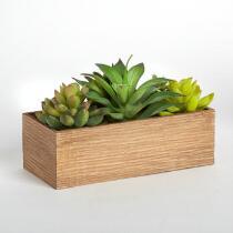 Artificial Succulent Cactus Wood Planter Box