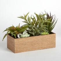 Artificial Succulents Wood Planter Box