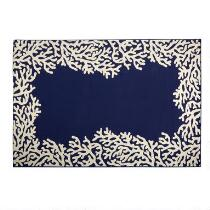 Dark Blue Coral Reef All-Weather Area Rug