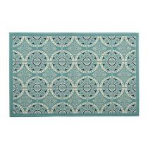 Turquoise Medallion All-Weather Area Rug