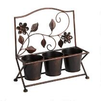 "15"" Metal 3-Pot Flower Planter"
