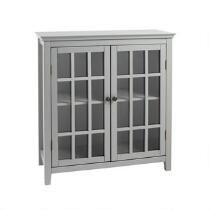 Leslie Gray 2-Door Windowpane Storage Cabinet