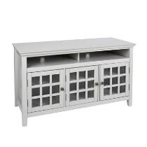 Leslie Gray Windowpane Glass Door Media Cabinet