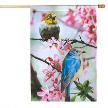 Birds on Pink Flower Branches Yard Flag