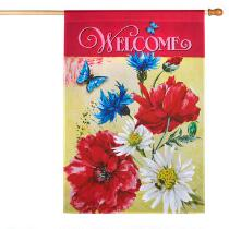 """Welcome"" Flowers and Butterflies Yard Flag"