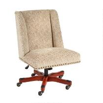 Walnut Herringbone Upholstered Rolling Office Chair with Nailheads