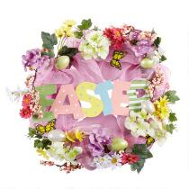 "20"" ""Easter"" Artificial Flowers Mesh Spring Wreath"