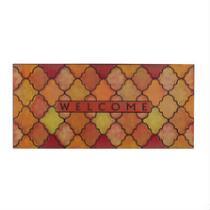 """""""Welcome"""" Orange/Yellow Moroccan Oversized Rubber Door Mat"""