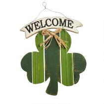 "19"" ""Welcome"" Slatted Wood Clover Hanging Sign"
