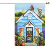 """Welcome"" Bird House Yard Flag"