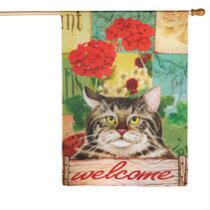 """Welcome"" Garden Cat Yard Flag"