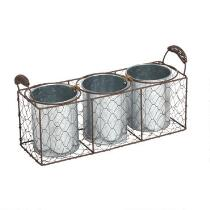3-Pot Chicken Wire Basket Planter