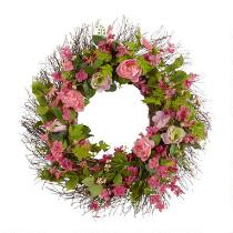 "24"" Roses and Greenery Artificial Twig Wreath"