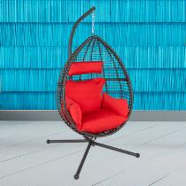 Black/Red Hanging Outdoor Chair with Cushions