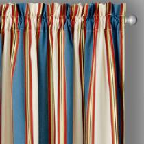 Traditions by Waverly® Blue/Ivory Stripe Window Curtains, Set of 2