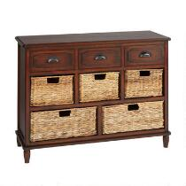 3-Drawer/5-Basket Brown Water Hyacinth Storage Cabinet