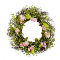 "24"" Hyacinth and Hydrangea Artificial Twig Wreath"