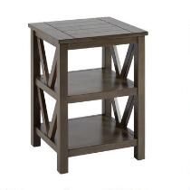 Gray V-Side Plank Top Accent Table