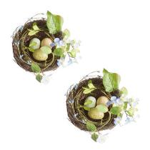 Artificial Flower Nests with Eggs, Set of 2