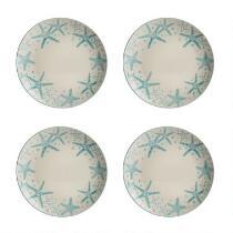 Coastal Starfish Rim Dinner Plates, Set of 4