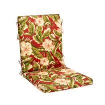 Red Tropical Palm Indoor/Outdoor Hinged Chair Pad