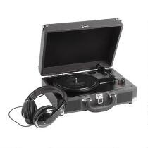 Black Suitcase Turntable with Headphones