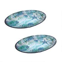 Starfish Melamine Oval Serving Platters, Set of 2