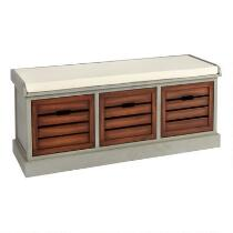 Alden Gray 3-Bin Shutter Storage Bench