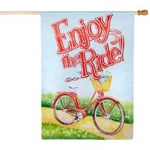 """Bicycle """"Enjoy the Ride"""" Faux Suede Yard Flag"""