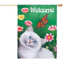 """Cat """"Welcome"""" Faux Suede Yard Flag"""