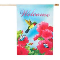 """Hummingbird """"Welcome"""" Faux Suede Yard Flag"""