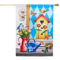 """Birdhouse """"Welcome Home"""" Faux Suede Yard Flag"""