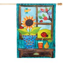 """Sunflower """"Welcome Home"""" Faux Suede Yard Flag"""