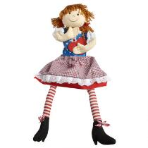 Red, White and Blue Sitting Girl Doll with Dangling Legs