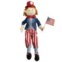 Red, White and Blue Sitting Boy Doll with Dangling Legs