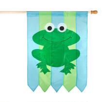 Blue/Green Frog Yard Flag