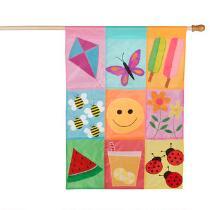 Springtime Smiley Face Yard Flag