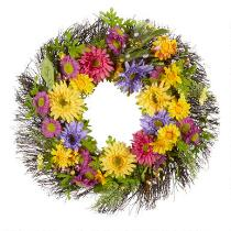"""25"""" Large Flowers Artificial Twig Wreath"""
