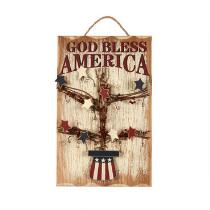 "18"" ""God Bless America"" Wood Wall Decor"